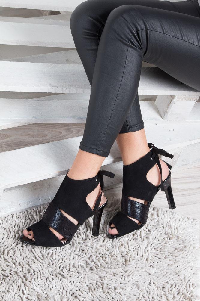 Czarne sandały na obcasie z kokardą Sergio Leone 1489 wnetrze materiał/skóra ekologiczna