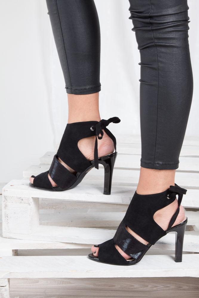 Czarne sandały na obcasie z kokardą Sergio Leone 1489 wkladka skóra