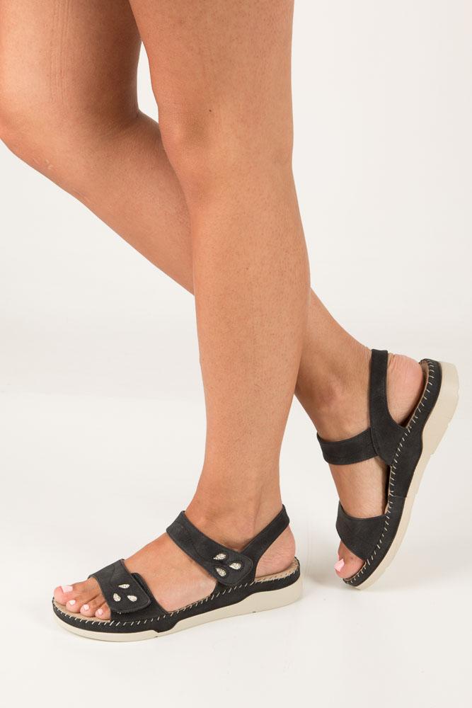 Czarne sandały na platformie Casu HR21608 czarny