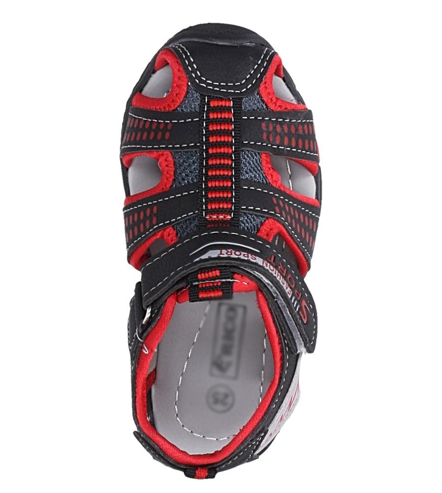 Czarne sandały na rzep Casu 58005 kolor czarny, czerwony