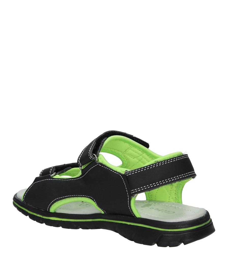 Czarne sandały na rzep Casu Z-312 kolor czarny, seledynowy