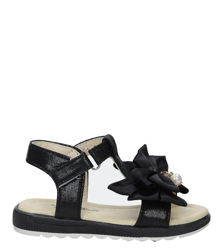 Czarne sandały na rzep z kokardą i perełkami Casu 8913B
