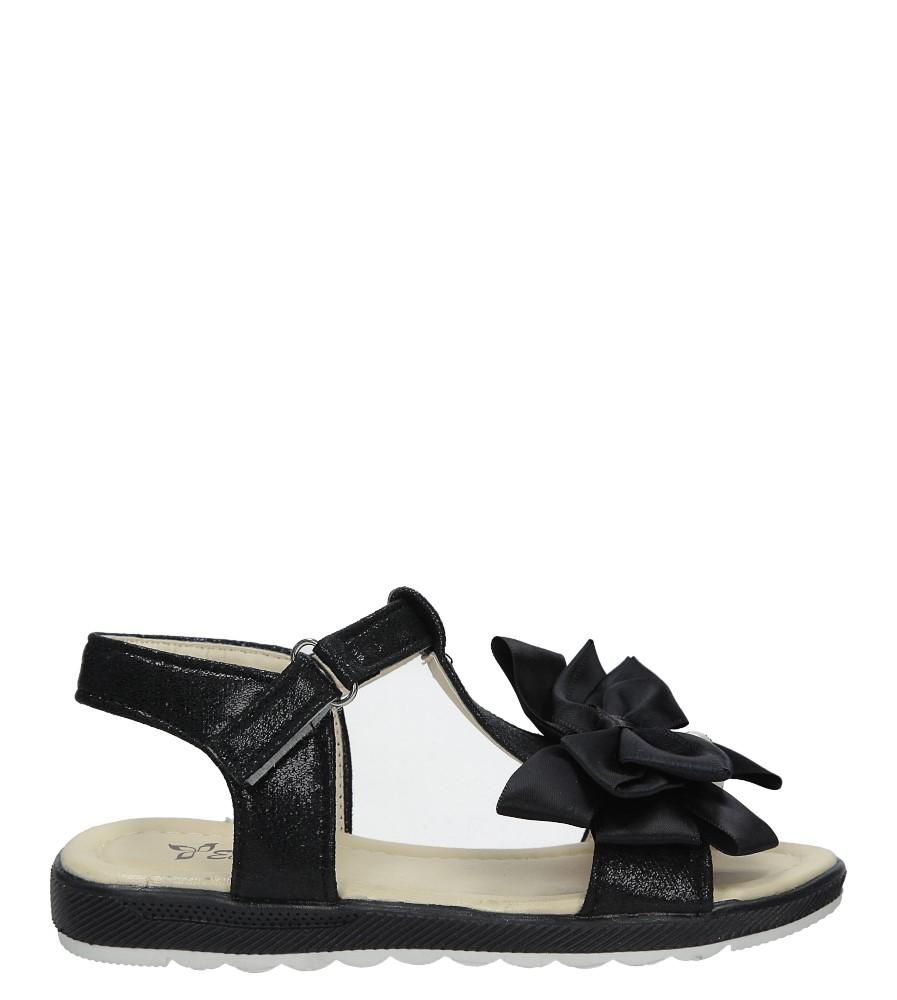 Czarne sandały na rzep z kokardą i perełkami Casu 8913C
