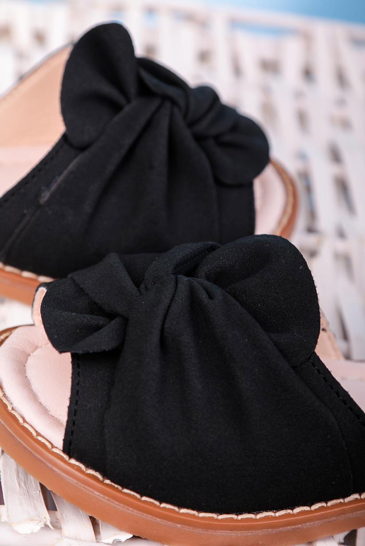 Czarne sandały na rzep z zakrytą piętą kokarda Casu YJ223C czarny