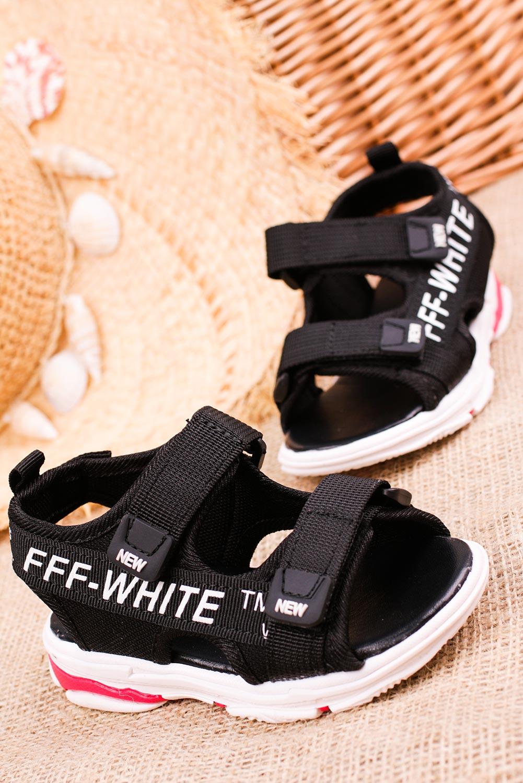 Czarne sandały na rzepy Casu 123B producent Casu