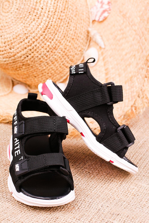 Czarne sandały na rzepy Casu 123B sezon Lato