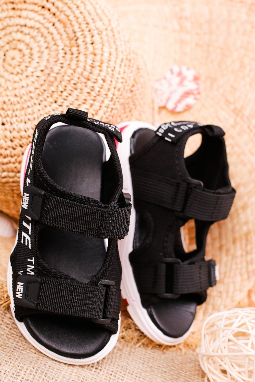 Czarne sandały na rzepy Casu 123B kolor czarny