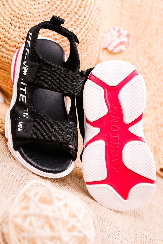 Czarne sandały na rzepy Casu 123B wysokosc_obcasa 2.5 cm