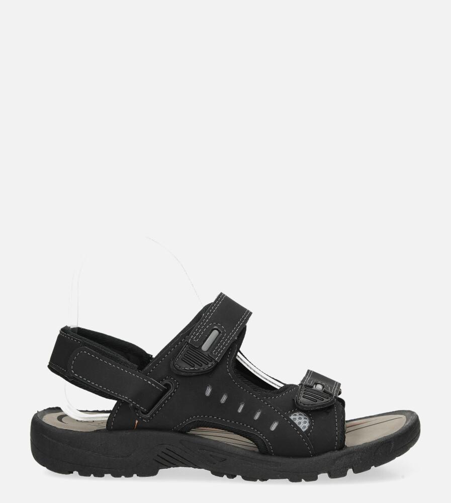 Czarne sandały na rzepy Casu 3120