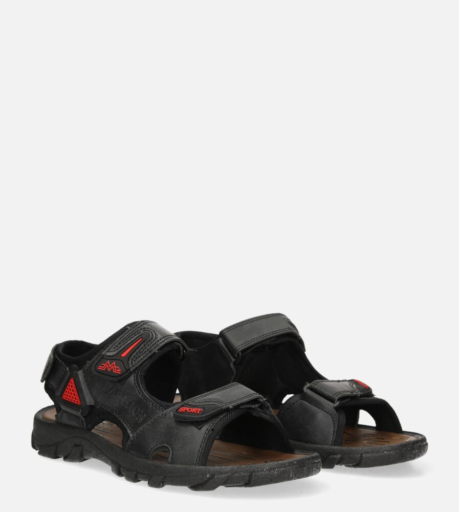 Czarne sandały na rzepy Casu 3127 kolor czarny