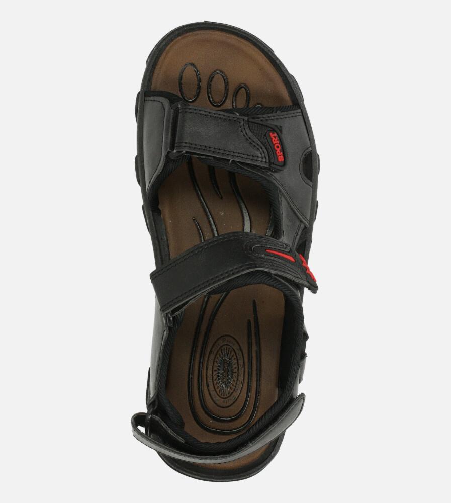 Czarne sandały na rzepy Casu 3127 wysokosc_platformy 1.5 cm