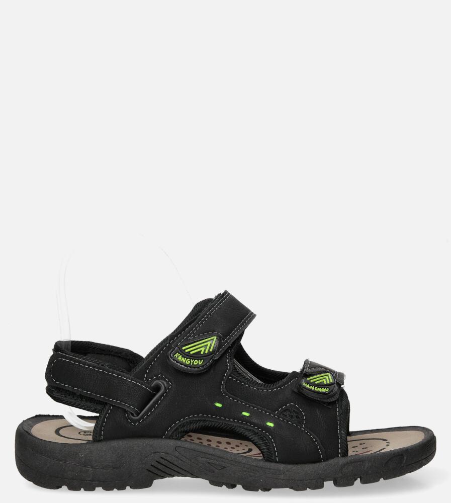 Czarne sandały na rzepy Casu A-56