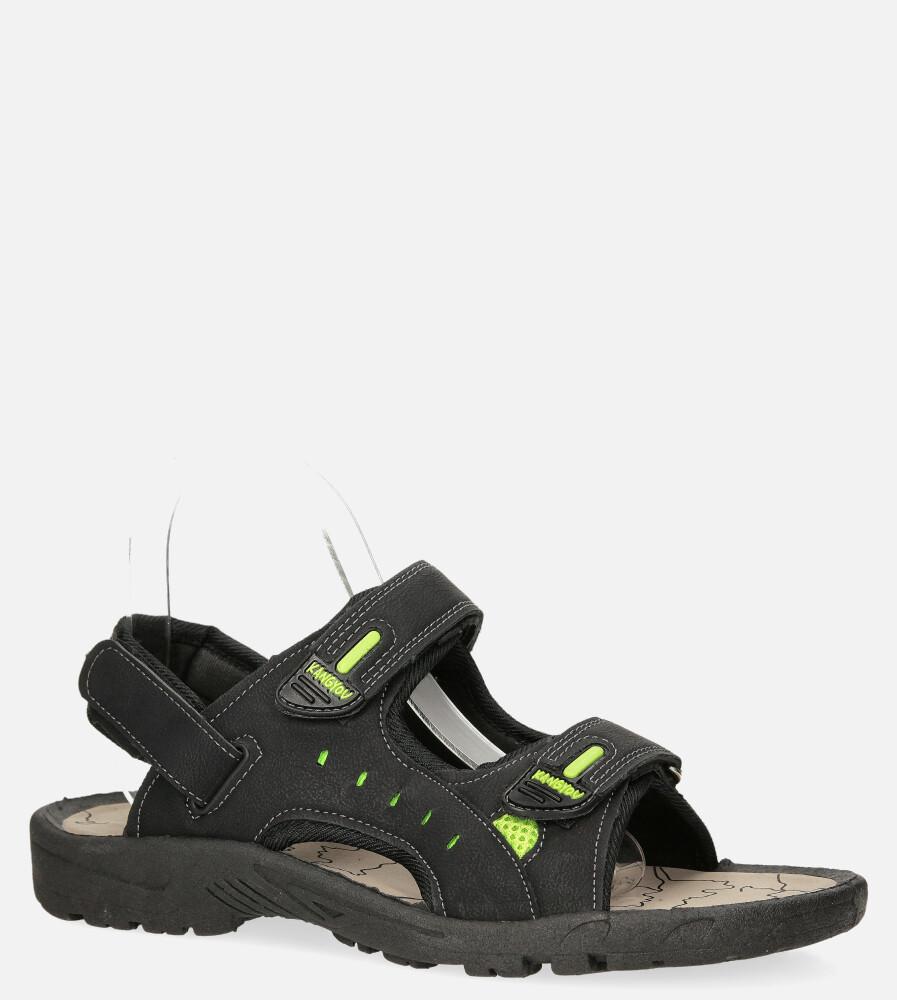 Czarne sandały na rzepy Casu B-67 producent Casu