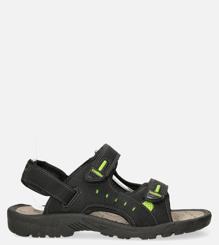 Czarne sandały na rzepy Casu B-67