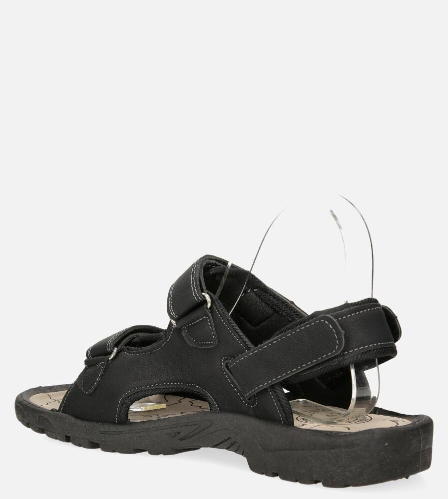 Czarne sandały na rzepy Casu B-67 sezon Lato