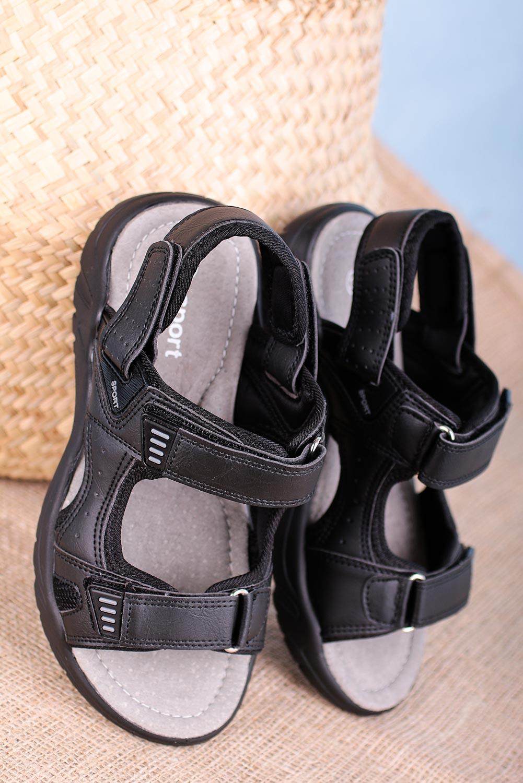 Czarne sandały na rzepy Casu B5512-1 czarny