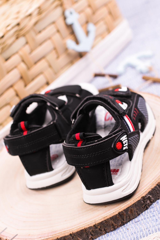 Czarne sandały na rzepy Casu F03