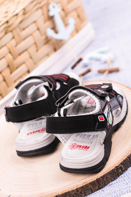 Czarne sandały na rzepy Casu JF01