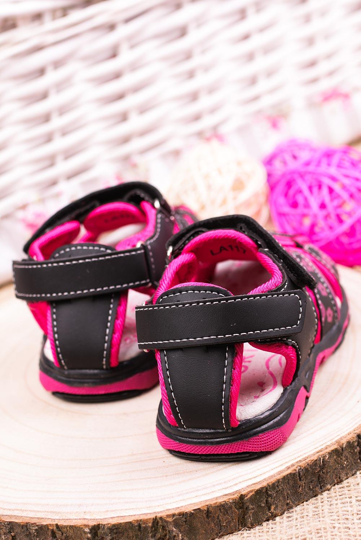 Czarne sandały na rzepy Casu LA117 czarny