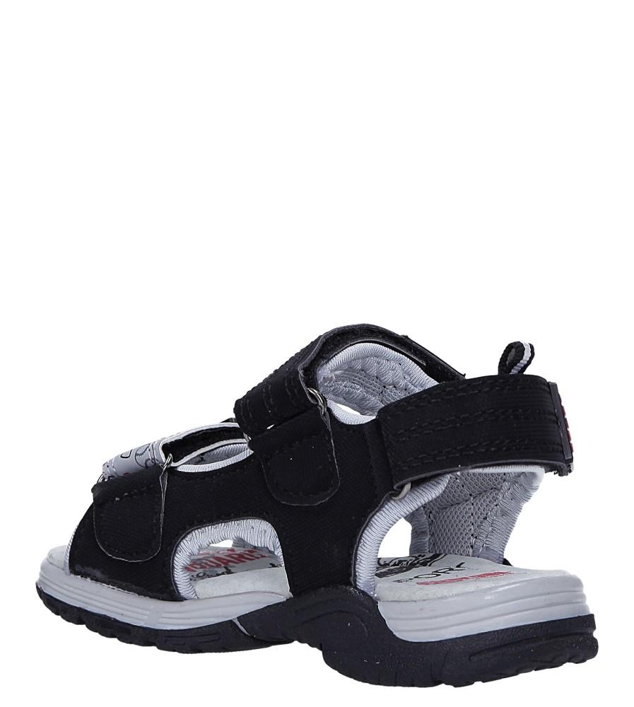 Czarne sandały na rzepy Casu LA80 sezon Lato