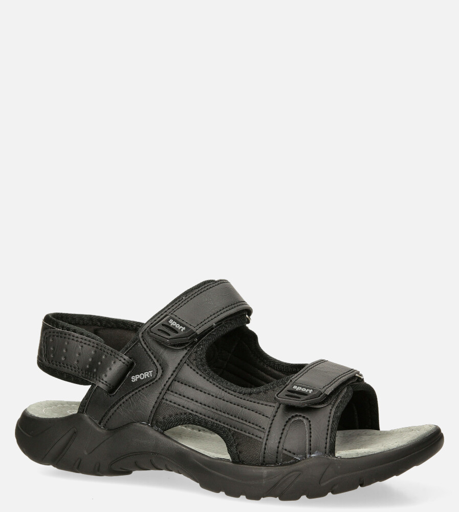 Czarne sandały na rzepy Casu M5515-1 czarny