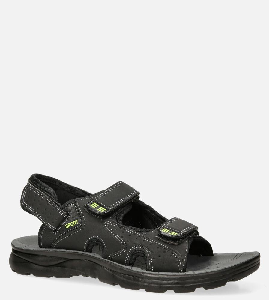 Czarne sandały na rzepy Casu M90072 producent Casu