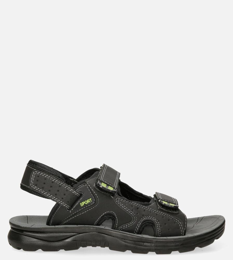 Czarne sandały na rzepy Casu M90072 model M90072