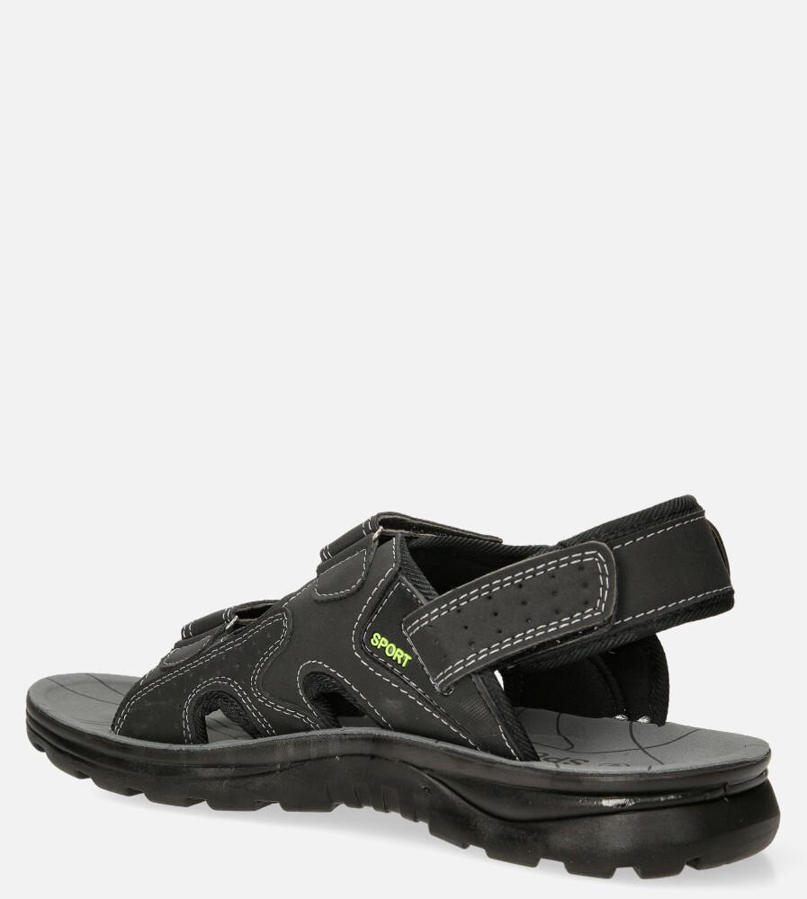 Czarne sandały na rzepy Casu M90072 sezon Lato
