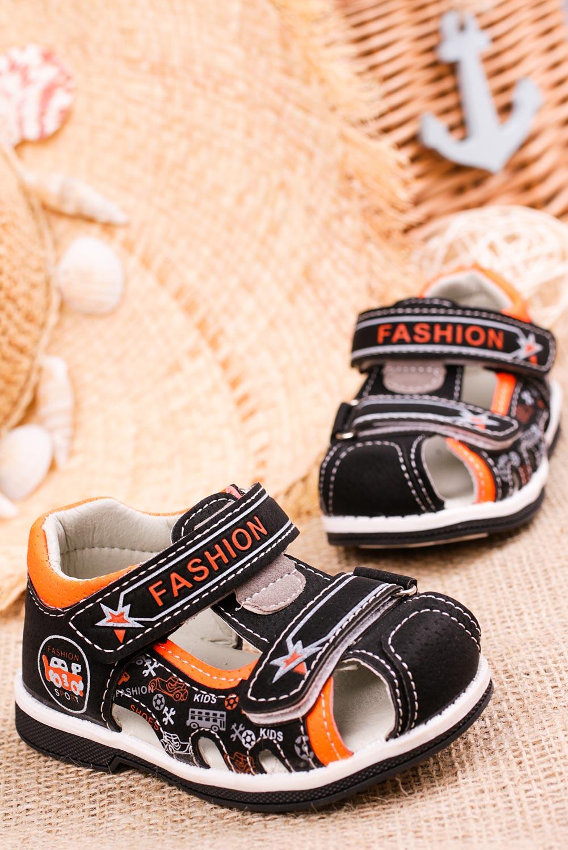 Czarne sandały na rzepy Casu T17A producent Casu