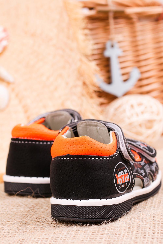 Czarne sandały na rzepy Casu T17A model T17A