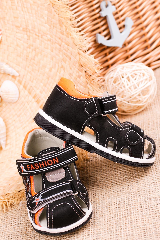 Czarne sandały na rzepy Casu T17A sezon Lato