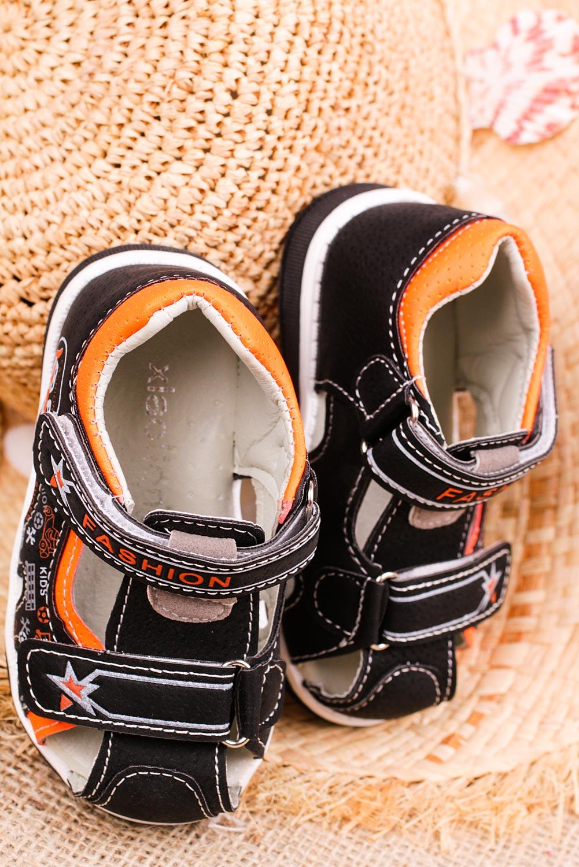 Czarne sandały na rzepy Casu T17A kolor czarny