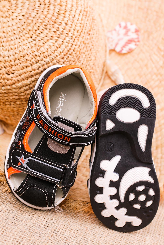 Czarne sandały na rzepy Casu T17A wysokosc_obcasa 1 cm