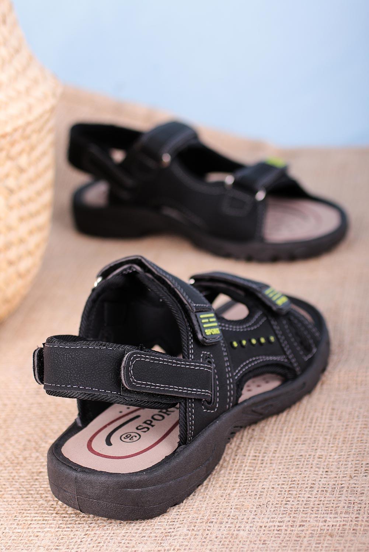 Czarne sandały na rzepy Casu W2212