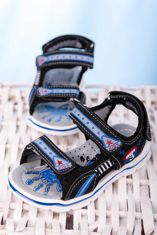 Czarne sandały na rzepy Casu YF-02C