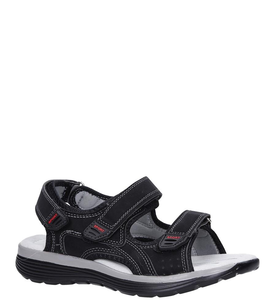 Czarne sandały na rzepy ze skórzaną wkładką Casu B5524-1 producent Casu