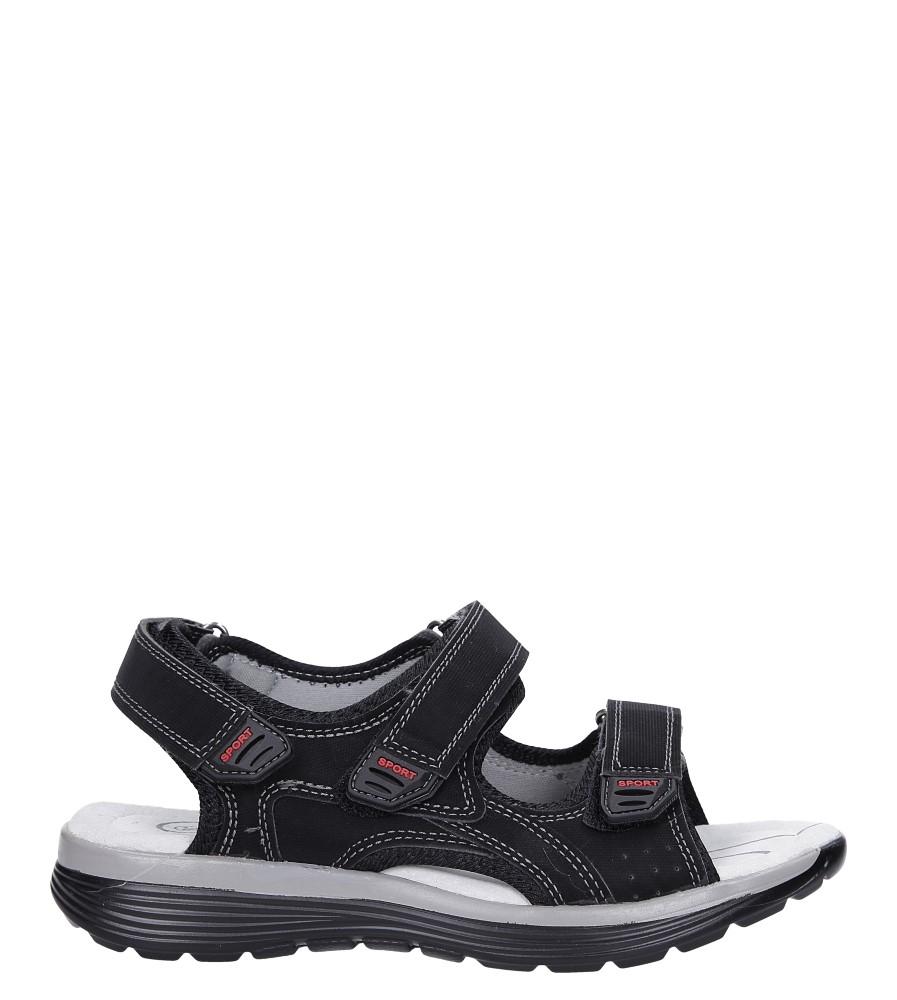 Czarne sandały na rzepy ze skórzaną wkładką Casu B5524-1 model B5524-1