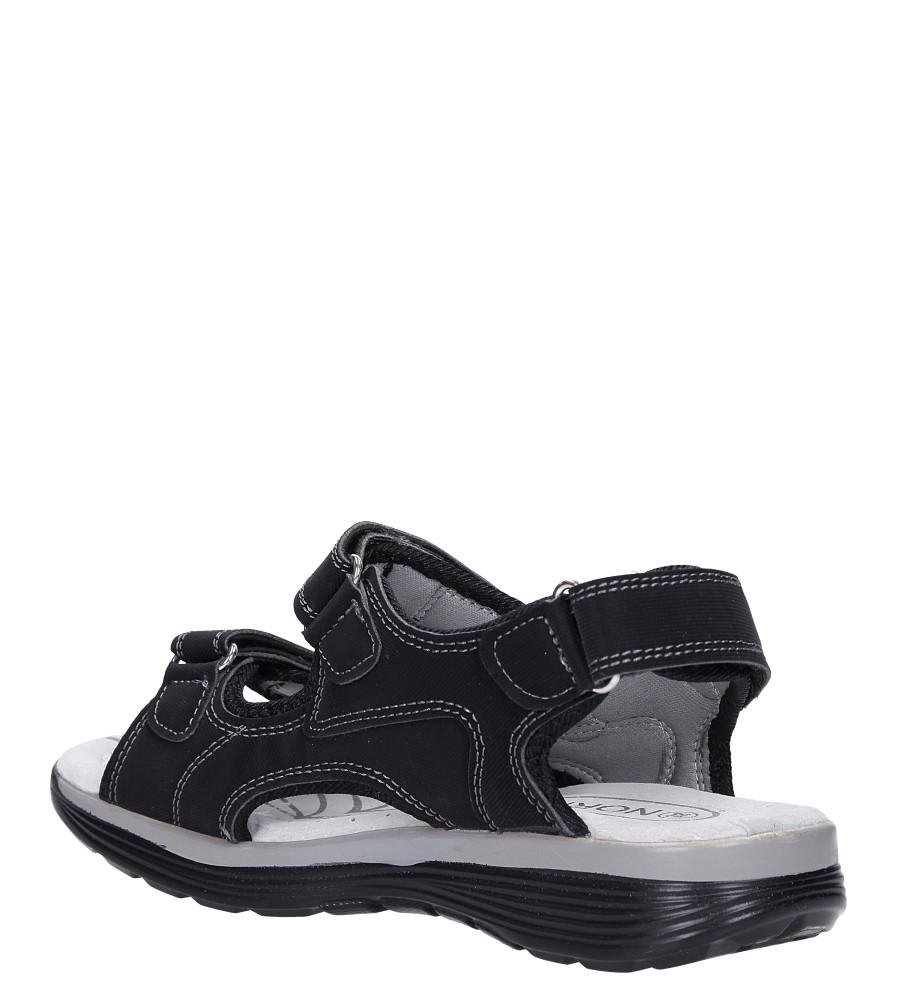 Czarne sandały na rzepy ze skórzaną wkładką Casu B5524-1 sezon Lato