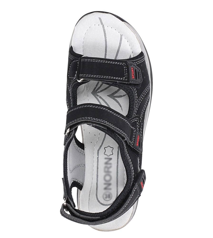 Czarne sandały na rzepy ze skórzaną wkładką Casu B5524-1 kolor czarny