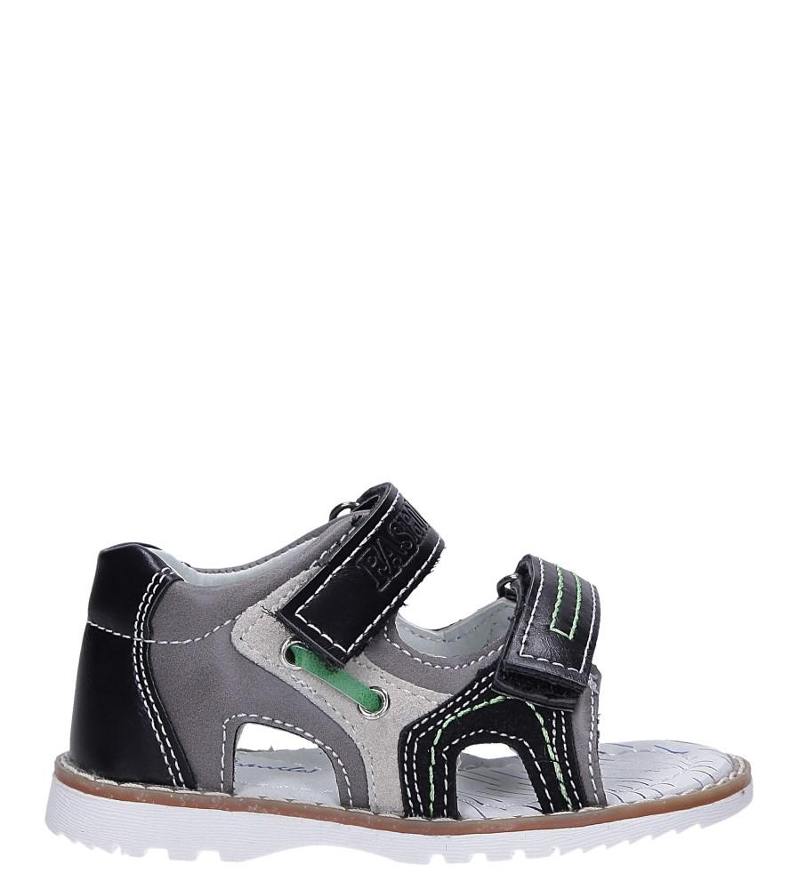 Czarne sandały na rzepy ze skórzaną wkładką Casu YF-325 czarny