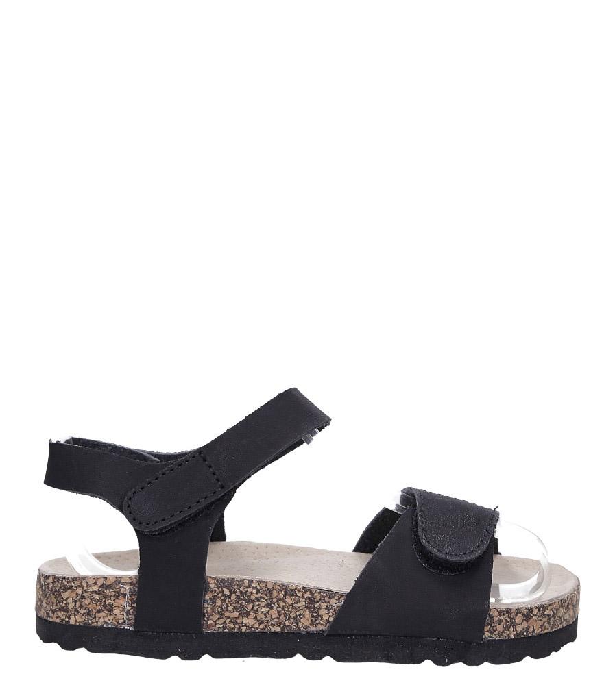 Czarne sandały na rzepy ze skórzaną wkładką i profilowaną korkową podeszwą Casu B19KDX1/B czarny