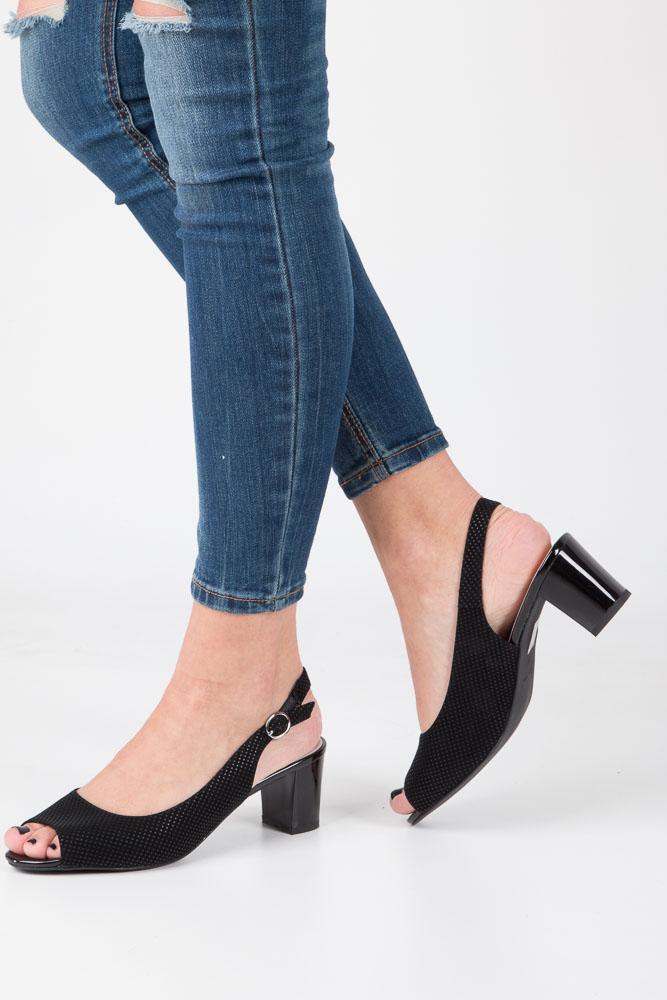 Czarne sandały na słupku kropki Sergio Leone 3831