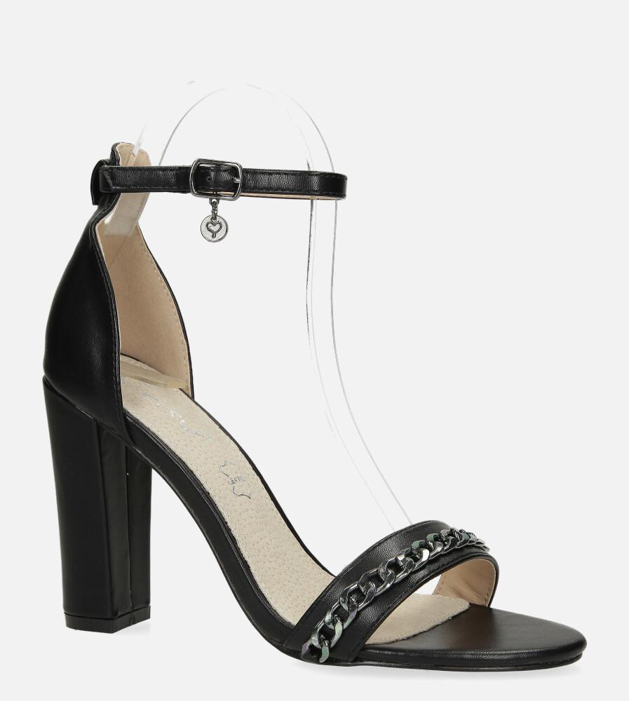 Czarne sandały na słupku z zakrytą piętą i paskiem wokół kostki ze skórzaną wkładką Casu RT20X6/B