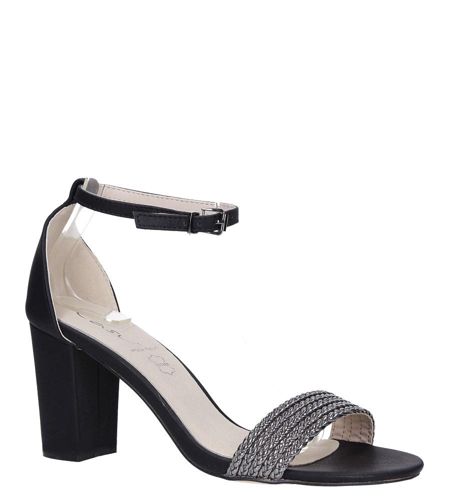 Czarne sandały na słupku z zakrytą piętą pasek wokół kostki skórzana wkładka Casu R19X9/B