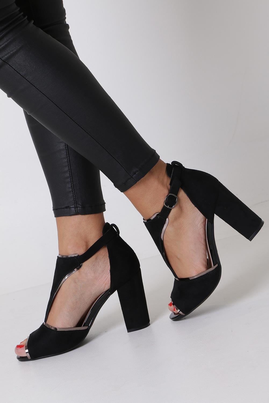 d74e39199c87 ... Czarne sandały na słupku z zakrytą piętą Sergio Leone SK854 kolor czarny  ...