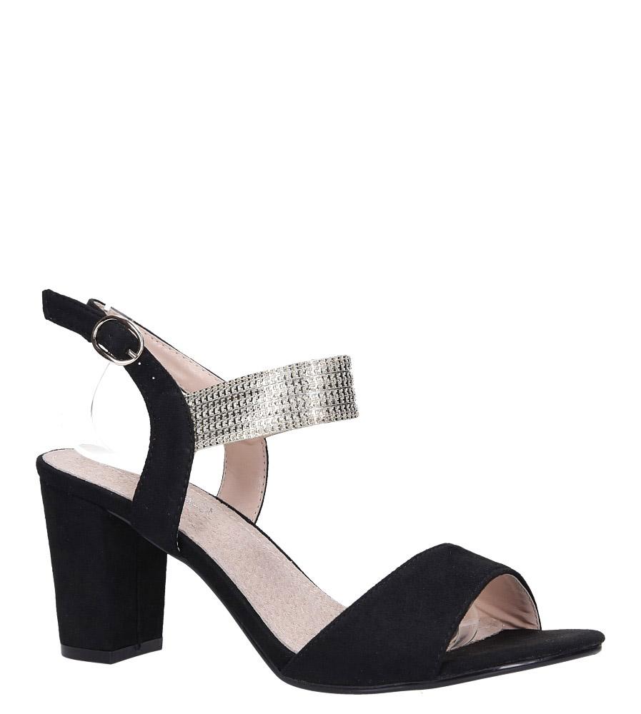 Czarne sandały na słupku ze skórzaną wkładką Casu DS817/19BK