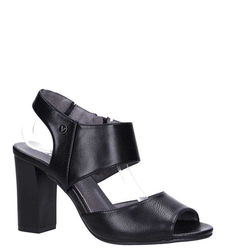 Czarne sandały na słupku ze skórzaną wkładką Jezzi ASA109-10