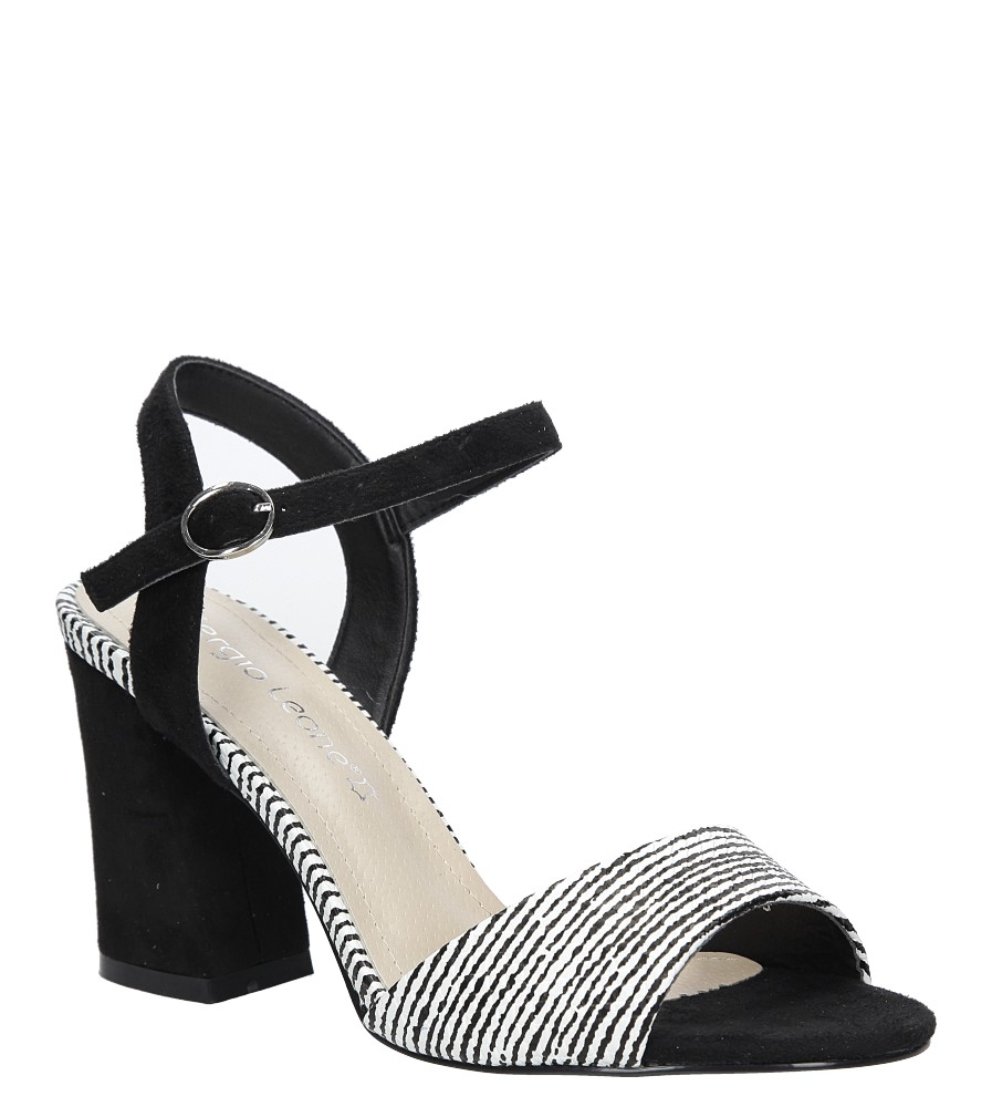 Czarne sandały na szerokim obcasie zebra Sergio Leone  SK820-01X