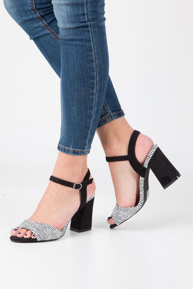 Czarne sandały na szerokim obcasie zebra Sergio Leone  SK820-01X model SK820-01X