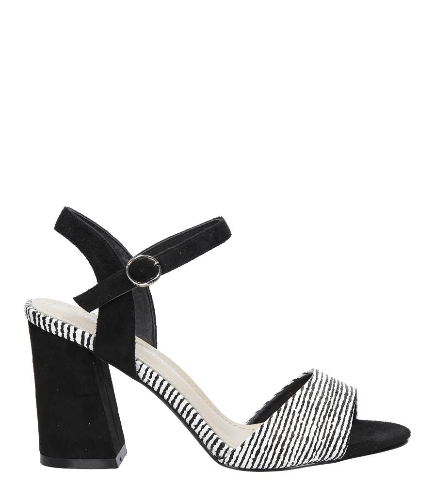 Czarne sandały na szerokim obcasie zebra Sergio Leone  SK820-01X sezon Lato